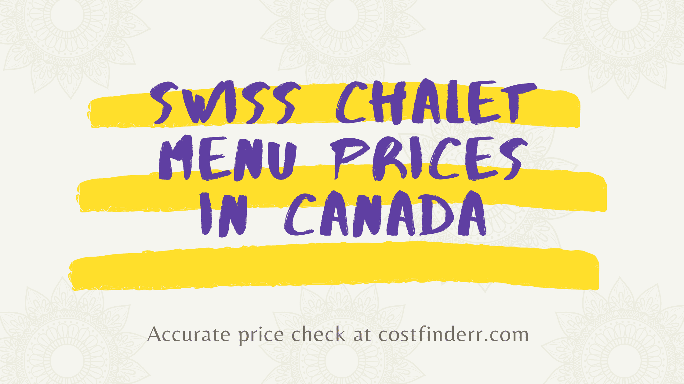 Swiss Chalet Menu Prices in Canada